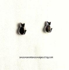 USA Black Cat Stud Earrings - Surgical Steel Posts