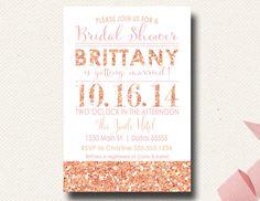 Citrus and Pink Glitter Sparkle Shower Invitation by DesignOnPaper