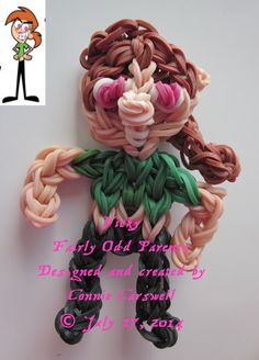 Rainbow Loom – Fairly Odd Parents Collection – Vicky (Timmy's babysitter) Designed and created by Connie Carswell, July 2014 © Connie Carswell ~ 2014 All Rights Reserved.