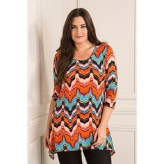 Kurt Muller Printed Dip Hem Top (359427) | Ideal World