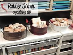 Craft Room organizing tip for rubber stamps
