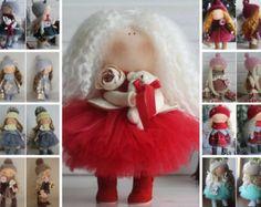 Christmas doll Red doll Nursery doll Tilda doll Handmade doll