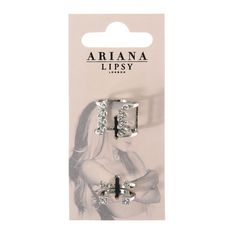 Ariana Grande for Lipsy Pack of 3 Silver Crystal Rings
