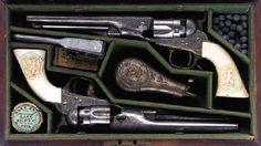 Cased Colts Engraved | CASED PAIR OF FACTORY ENGRAVED .36 COLT MODEL 1862 POLICE POCKET ...