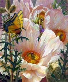 Prickly Poppies by Elizabeth Horning. Oils