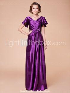 Sheath/Column V-neck Floor-length Stretch Satin Mother of the Bride Dress - USD $ 149.99