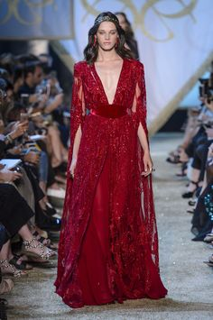 Elie Saab HC RF17 0156  I love red for a winter or mid-february wedding (which up here is the same)  This gown is very Gothic Romance Period meets Boho.