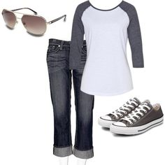 "Love the baseball tee look. (""kicked back"" by gwendelinyates on Polyvore)"