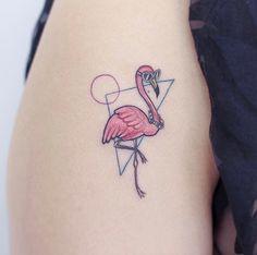 Pink flamingo tattoo by Tapz