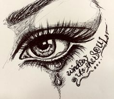eyes are the window to the soul.  ballpoint pen eye drawing / doodle.  artist steph z.