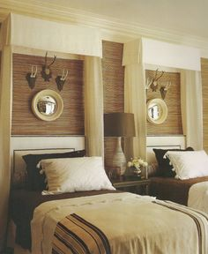 I like this bed treatment with the wall and grasscloth showing, hmmmm via delight by design