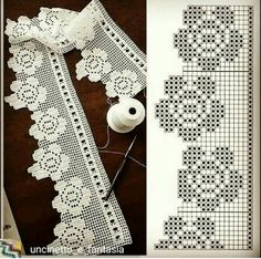 Crochet Patterns Lace Crochet Lace Edging for Handtowel ~~ sandragcoatti - Salvabrani The edging in the photo says it is from a pattern found in Crochet Tree, Crochet Lace Edging, Crochet Borders, Crochet Blanket Patterns, Crochet Doilies, Crochet Flowers, Crochet Edgings, Alphabet Au Crochet, Crochet Simple
