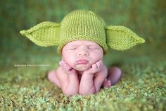 Yoda's baby picture. Um, they had to put him in the hat because he wasn't  green and he didn't have ears...his family was embarrassed. Later, they were able to find a Jedi Master who would use the Force to make him ears. But the Master couldn't do anything about Yoda's color until years later when they left him on Dagobah (the story was it was an accident). Anyway, something ate him but no one is saying what. When he came out the other end... he was green. Problem solved. Case closed.  Carol