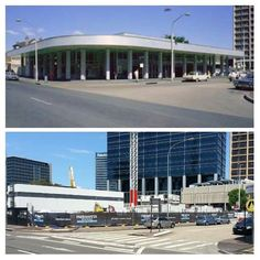 Parramatta Post Office, Macquarie St 1973 & now site of future Parramatta Square 2015 [1973> National Library Australia -2015>Allan Hawley. By Allan Hawley]
