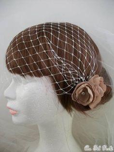 bibi voilette mariage fleur vieux rose 009 - Bibi Mariage Voilette