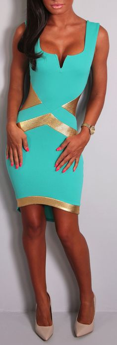 Pink Boutique Lucina teal green & gold #mini #dress http://www.pinkboutique.co.uk/new-in/lucina-teal-green-and-gold-mini-dress.html #pinkboutique