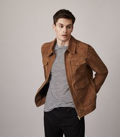 Reiss Willoughby Suede Jacket Tabacco - S Skinny Biker Jeans, Ripped Jeans Men, Mens Smart Casual Outfits, Men Casual, Best Mens Fashion, Suede Jacket, Mens Clothing Styles, Stylish Men, Menswear