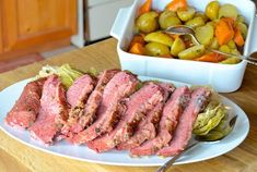 Slow Cooker Corned Beef Dinner - Weekend at the Cottage Slow Cooker Corned Beef, Corned Beef Recipes, Baked Bean Recipes, Crockpot Recipes, Stove Top Baked Beans Recipe, Boiled Corn, Carrots And Potatoes, Beef Dishes, Tasty
