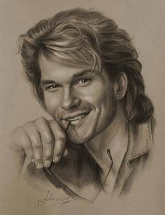 Pencil Portrait Celebrity Pencil Portraits - Patrick Swayze - Armed with graphite and beige paper, pencil-wielding Polish artist Krzysztof Lukasiewicz portrays famous faces. Here's a step-by-step of his drawing of George Clooney, from initial sketch to … Patrick Swayze, Portrait Sketches, Pencil Portrait, Drawing Sketches, Drawing Ideas, Man Portrait, Cool Pencil Drawings, Pencil Art, Horse Drawings