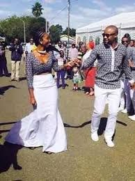 african bride and groom in shweshwe attire also known as leteitse or german cotton African Dresses For Women, African Print Dresses, African Print Fashion, African Attire, African Fashion Dresses, African Wear, African Women, Costume Africain, African Wedding Dress