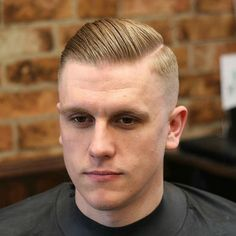 High Fade with Hard Part and Slick Back