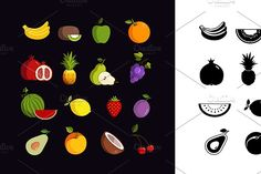 Vector fruit colorful  icon set by Anton on @creativemarket