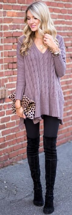 Free People Purple oversized Sweater |Casual Girly Winter Street Style |Blonde Expeditions #free