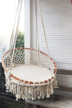 ] Boho MACRAME HANGING CHAIR- Natural By: My Store Sydney www. Sydney - Australia but worldwide shipping is available for all! Shop this stunning look. re-create your space! Macrame Design, Macrame Art, Macrame Projects, Macrame Hanging Chair, Macrame Chairs, Hanging Beds, Hanging Chairs, Swinging Chair, Macrame Patterns