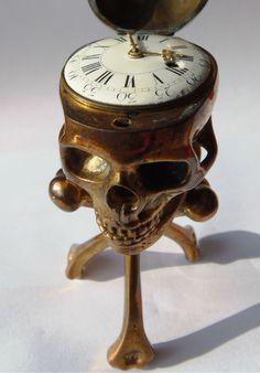 19th C Memento Mori Desk Clock by Javelot