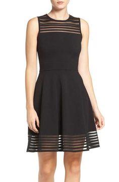Eliza J Stripe Fit & Flare Dress (Regular & Petite)