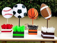 Sports Theme Centerpiece Sports Party Sports Birthday Soccer Football Baseball Basketball decoration for Birthday or themed event SET OF 4 Basketball Party Favors, Basketball Decorations, Sports Party Favors, Soccer Party, Baseball Theme Birthday, Sports Themed Birthday Party, Ball Birthday Parties, Soccer Centerpieces, Birthday Party Centerpieces