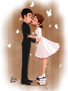 Write Our Story by LolieFeather on DeviantArt Girly Drawings, Couple Drawings, Disney Drawings, Walt Disney, Disney Art, Happy Anniversary Quotes, Cute Couple Art, Cute Disney Wallpaper, Couples Images