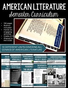 Entire Semester of American Literature Activities & Assessments: Student Binder Homeschool High School, Homeschooling, Student Binders, Age Of Enlightenment, High School English, American Literature, Creative Activities, Secondary School, Rubrics