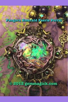 Faerie Worlds Jewelry/ Fangorn Emerald Faerie Portal Necklace/ Tolkien/ Rainbow/Spell Bound Gems(tm)/Custom/Magic/ by VintageRoseFairy on Etsy