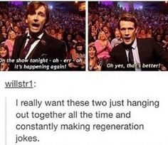 My two favorite regenerations of the Doctor :) (but I like the others too)