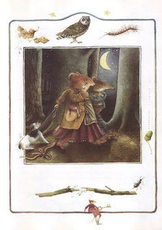 Saar and Vera Mouse walking home through the woods at night - Marjolein Bastin