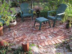 Round, broken bricks, backyard