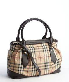 Burberry : chocolate signature plaid coated canvas and leather top handle convertible satchel : style # 331022501
