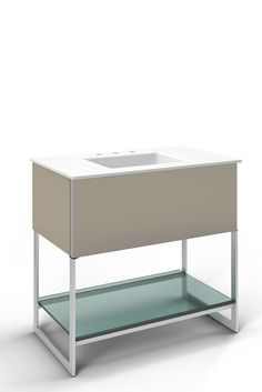 "Robern Adorn 36-1/4"" x 34-3/4"" x 21"" vanity in satin bronze with push-to-open plumbing drawer, night light, towel bar on right side, legs in brushed aluminum and 37"" stone vanity top in quartz white with integrated center mount sink and 8"" widespread faucet holes"