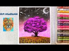 Night sky Scenery Drawing with oil pastels for kid-step by step-Beginners-how to draw tree Oil Pastel Drawings, Oil Pastels, Night Skies, Scenery, Youtube, Kids, Art, Young Children, Art Background