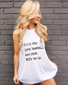 MADE IN THE USA!  Girls who love baseball are rare. Wife 'em up.  **Will ship weekend of 3/17.**  Our best-selling mock-neck tank with a ribbed texture and a loose a-line flowy fit. Pair it with a simple bandeau underneath or lace bralette! Sizing info below. #GirlsWhoLoveBaseballAreRareWifeEmUp #LiveLoveGameday #Baseball