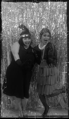 Black and white photobooth at Gatsby inspired party