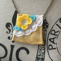 Yellow Necklace Victorian Jewelry Textile Feminine Art