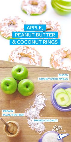 An adult twist on the apple and peanut butter snack. Cut an apple like a donut and sprinkle some coconut on it. The perfect healthy snack for home, work or school. Put them in a Ziploc® container to enjoy on the go!