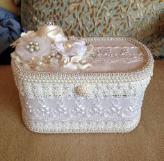 Crafted by Juana Hudson Latinaloveslace Etsy SOLD Shabby Chic Crafts, Shabby Chic Decor, Shabby Boxes, Shabby Style, Fabric Covered Boxes, Altered Bottles, Pretty Box, Ribbon Embroidery, Bottle Crafts