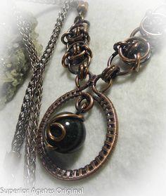 Green Quartz Wire Wrapped Antique Copper Stone by superioragates, $50.00