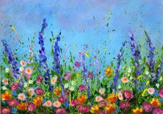 Splattered Paint Flower Garden Painting-no drawing needed-myflowerjournal.com