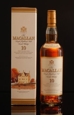 Macallan 10 years old single malt whisky  Note: Exclusively matured in selected sherry oak casks from Jerez. This bottle has the old label and seal. The bottle and box are in good condition.