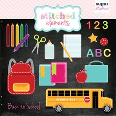 Back to School Clipart Set  20 Pieces for Personal by sugarstudios, $4.00