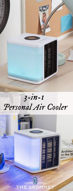 This evaporative cooler creates colder surroundings as it humidifies and cleanses the air around you. Perfect for desktop or bedside use, the compact unit uses a basalt filter that blocks dust and even prevents mold and bacteria from building up. The result is clean, fresh coolness circulated just for you.